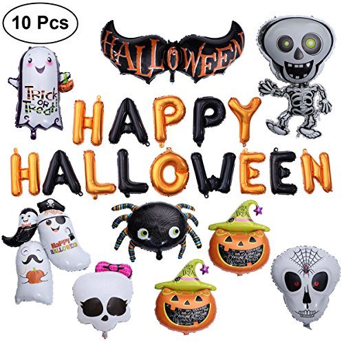 TOYMYTOY Happy Halloween Foil Balloons Set - Giant Pumpkin  Spider  Dancing Skeleton  Ghost  Bat - Pack of 10