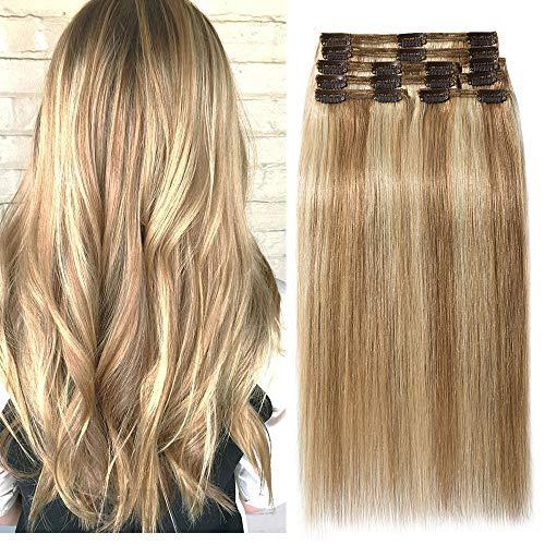 40cm extension clip capelli veri shatush double weft lunga 16