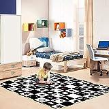 Humbi Schaumstoff Spielmatte Spielteppich Schaumstoffmatte Beidseitig Matte Schwarz-Weiß und Bunt 180x150x1 cm