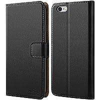 iPhone 6 Hülle,iPhone 6S Hülle,HOOMIL Premium Handy Schutzhülle für iPhone 6 / 6S Hülle Leder Wallet Tasche Flip Brieftasche Etui Schale 4,7 Zoll , Schwarz (H3005)