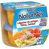 Nestlé Bébé Naturnes Légumes du Potager Pâtes Jambon - Plat Complet dès 12 Mois - 2 x 200g - Lot de 4