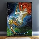 XIAOXINYUAN Malerei Wand Kunst Fantasy Vintage Girl Bild Leinwand Für Wohnzimmer Wohnzimmer Schmuck Kunst 20 X 24 cm Ohne Rahmen