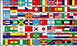 70 Nationen Flagge 5 ft x 3 ft Multi Nation International Country Banner New