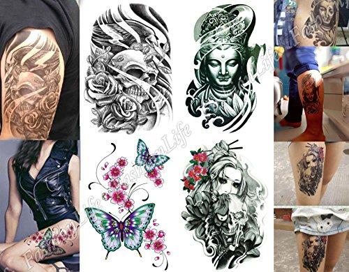 temporare-korperkunst-entfernbare-tattoo-aufkleber-set-4-sheets-4-pcs-lc3-sticker-tattoo-temporary-t