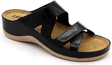 LEON 906 Sandali Zoccoli Sabot Pantofole Scarpe Pelle Donna