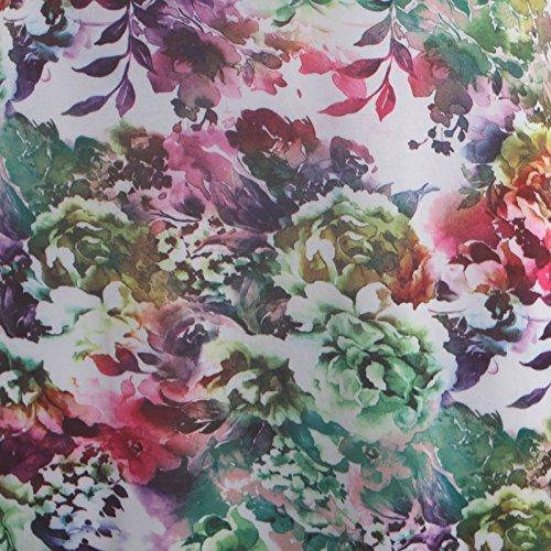 Chocolate Pickle ® Nouveau Mesdames à encolure dégagée manches 3/4 florale évasé Maxi robe 36-54 Green Leaf Floral