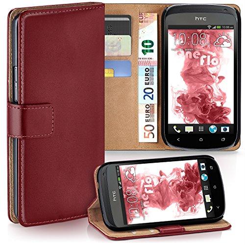 moex HTC One S | Hülle Dunkel-Rot mit Karten-Fach 360° Book Klapp-Hülle Handytasche Kunst-Leder Handyhülle für HTC One S Case Flip Cover Schutzhülle Tasche