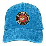 Aoliaoyudonggha USMC Unisex Denim Baseball Cap Adjustable Strap Low Profile Plain Hats Outdoor Casquette Adjustable Sunb