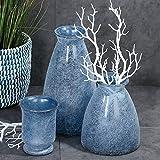 Casablanca Vase Sanremo blau/weiss benetzt H 30 cm 2er Set 100 % Recycle Glas Europäische Herstellung