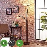 Lampenwelt LED Stehlampe 'Felicia' dimmbar (Landhaus, Vintage, Rustikal) in Braun aus Metall u.a. für Wohnzimmer & Esszimmer (3 flammig, A+, inkl. Leuchtmittel) - Wohnzimmerlampe, Stehleuchte, Floor