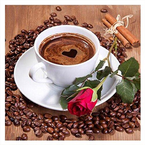 Kaffee Cup Rose Muster Diamant Stickerei DIY Naht 5D Kreuzstich Full HSS-Strass Gemälde Decor, 20*20cm -