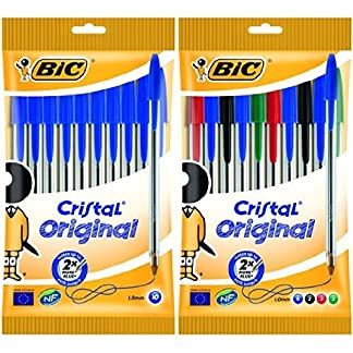 Bic – Pack 10 bolígrafos de punta redonda de color azul + 10 bolígrafos de punta redonda de colores variados