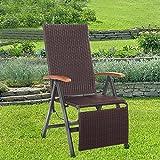 Exclusiv GEFLECHT Relax Sessel | bis 110 kg | 7-Fach Verstellbar | Klappstuhl Liegestuhl Sonnenstuhl Hochlehner Braun ~cf881