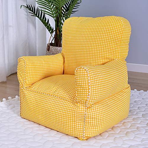 Wjh divano, divano letto singolo per bambini, sedia di mini divano, divanetto, scuola materna asilo confortevole morbida lavabile -giallo 35x35x47cm(14x14x19inch)