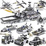 LEEDOO Blocchi di portaerei per aerei militari (25 tipi di modellini di navi da guerra, carri armati, aerei) Set di giocattoli per bambini ortografici in plastica Giocattoli per bambini Brain Game Reg