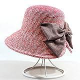 WENJUNtaiyangmao WENJUN Seasonsonnenschutz-Strohhut Faltender Strandhut Weiblicher Großer Hut Sunhat Strandurlaubsreise-Sonnenhut 360-Grad-Lichtschutz (Farbe : Pink)