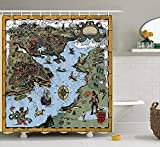 LZHsunni88 Compass Decor Collection, Antique Map with Rivers and Land Full of Monsters Pirates Giant Creatures Fantasy Art, Polyester Fabric Bathroom Shower Curtain, 75 inches Long, Olive Blue