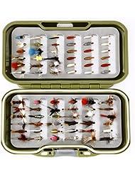 GS Fly Box Set mixtes truite Pêche à la mouche mouches Taille 12x MIXTES sèche pipi Nymphe et Asticots X 72mouches Superbe Petit cadeau de pêche de Noël ou idée de cadeau