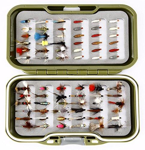 GS Fly Box Set gemischt Fliegenfischen Fliegen in Haken Größen 10, 12oder 14's gemischt Nassfliegen trocknet Nymphe und Maden X 72Fliegen Tolles Little Christmas Angeln Geschenk oder Geschenkidee... (14)
