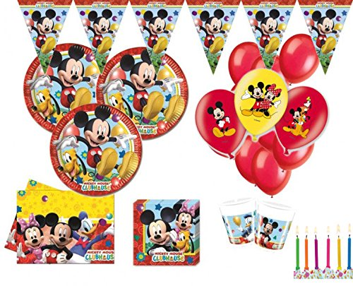 XXL 76 Teile Disney Micky Maus Party Deko Set für 16 Kinder