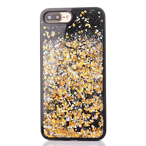 Coque iPhone 7 Plus Liquide, LuckyW Housse Etui PC Matériel Hardcase pour Apple iPhone 7 Plus/7S Plus(5.5 pouces) 3D Bling Glitter Briller Sparkle Éclat Flowing Floating Liquid Liquide Quicksand Sable Gold