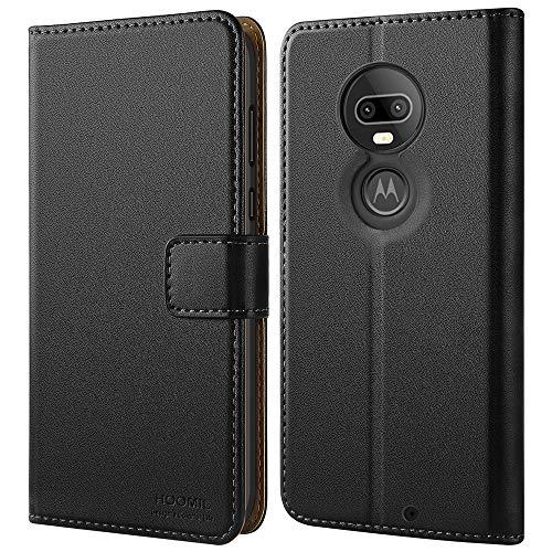 HOOMIL Handyhülle für Moto G7 Hülle, Premium Leder Flip Schutzhülle für Motorola Moto G7 / Moto G7 Plus Tasche, Schwarz