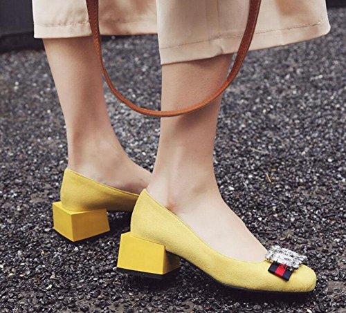 SHIXR Femmes bottes à bout fermé Rétro strass Chaussures carrées talon unique Chaussures en daim Chaussures de cour Chaussures de bateau Yellow