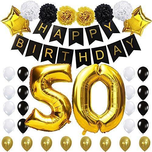 KUNGYO #50 Decoración para Fiestas de Cumpleaños- Happy Birthday Pancarta Negro, 40 Pulgadas Globo de Oro 50', Flores de Papel, Globos de Estrellas y Látex, Fuentes de Fiesta con Clase para 50 años