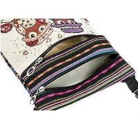 LCsndice Süße Umhängetasche Bohemian Zipper Bag Schultertasche Messenger Bag Owl Printed Frauen Satchel