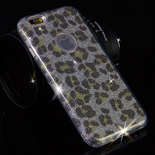 EGO ® Glitzer Schutzhülle für iPhone 7 Plus, Camouflage Grün Back Case Bumper Glänzend Transparente TPU Bling Weiche Glamour Handy Cover Lipgloss Leopard Silber + Glas