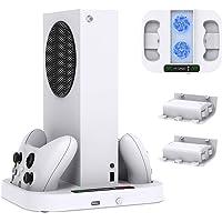 Support pour Xbox Series S avec 3 Ajustable Ventilateur de Refroidissement, Chargeur Manette pour Xbox Series X/S avec 2…