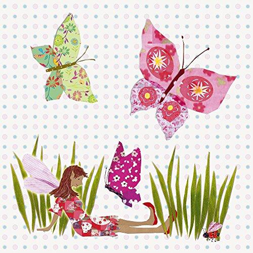 Happy Spaces - Decorazione artistica da parete, motivo: fata e farfalle, 40 x 40 x 2 cm