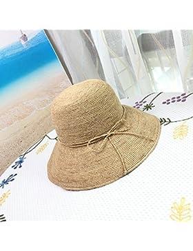 LVLIDAN Sombrero para el sol del verano Lady Anti-Sol Playa crochet a mano sombrero de paja grande lado ancho...