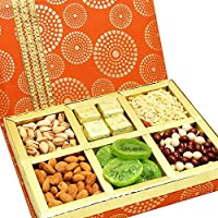 Ghasitaram Gifts Diwali Gifts Dry Fruits Hamper -Satin 6 Part Hamper Box