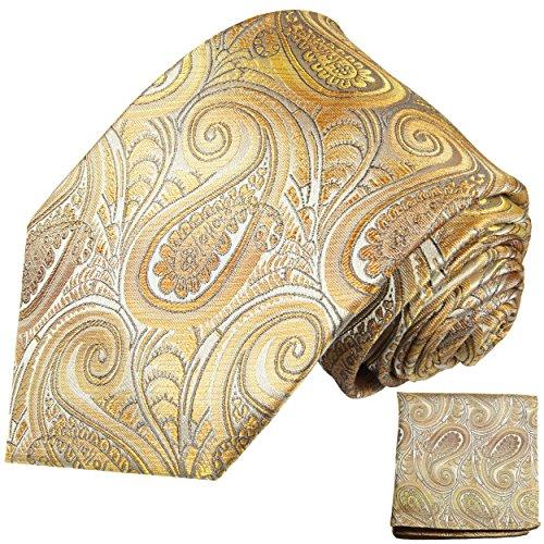 Cravate homme jaune marron paisley ensemble de cravate 2 Pièces ( longueur 165cm )