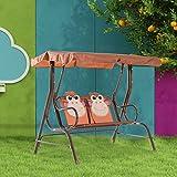 HOMCOM - Dondolo Altalena per Bambini da Giardino in Tubi di Ferro e Tessuto Oxford 115 x 75 x 110cm Caffè immagine
