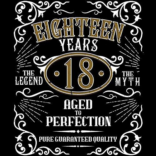 Fashionalarm Damen T-Shirt - Eighteen Years Aged To Perfection | Fun Shirt im Whiskey Label Style mit Spruch | Geschenk Idee 18. Geburtstag Party Schwarz