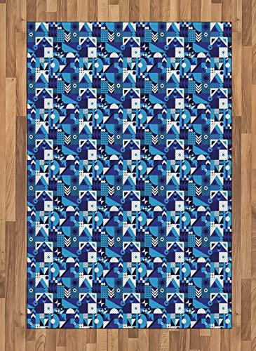 ABAKUHAUS Navy blau Teppich, Zeitgenössische Zusammenfassung, Deko-Teppich Digitaldruck, Färben mit langfristigen Halt, 120 x 180 cm, Hellblau Violett Weiß (Navy Zeitgenössische Teppich)
