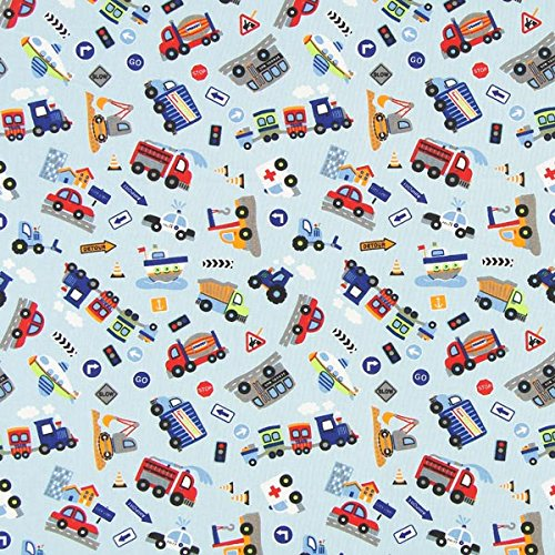 Fabulous Fabrics Baumwollstoff Autos Garage 1 hellblau — Meterware ab 0,5m — zum Nähen von Kissen und Tagesdecken, Taschen und Tischdekorationen