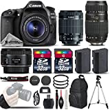 Canon EOS 80D Wi-Fi Full HD 1080P Digital SLR Camera + Canon 18-55mm Is STM Lens + Canon 50mm 1.8 II Lens + Tamron 70-300mm Lens All Original Accessories Included - International Version