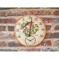 Von Hand bemalter, 30cm großes Wandthermometer mit Uhr in Schleiereule-Design für den Außenbereich