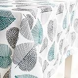 Tischdecke Abwaschbar Eckig,Goldbeing Textil Tischtuch Grünes und graues Blatt-Druck-Muster,Pflegeleicht Schmutzabweisend Gartentischdecke (140x180cm)