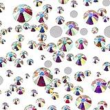 WILLBOND 1200 Pezzi Strass in Cristallo Gemme Artificiali a Fondo Piatto Rotondo Cristallo di Vetro 8 Misto Formati 1.5 - 6.5 mm per Unghie Arte Telefono Fai Da Te Mestieri (Cristallo AB)