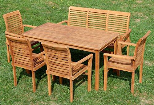 Edle TEAK XXL Gartengarnitur Gartenset Sitzgruppe Gartenmöbel TISCH + 1 Bank + 4 Sessel 'ALPEN' Holz geölt von AS-S - 5