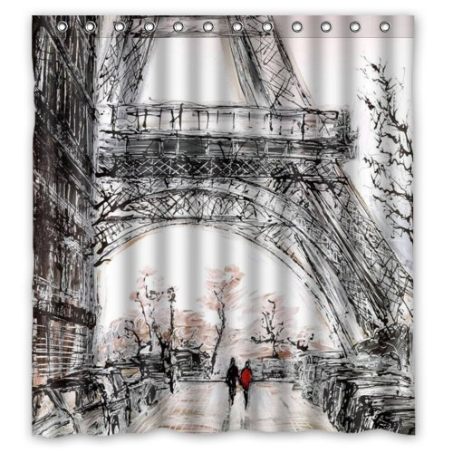 fengxutongxue Lawrence Ecofriendly Abstract Watercolor Vintage Paris Eiffel Tower Art Shower Curtain with Rings Waterproof Bathroom Curtain 48x72 IN