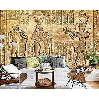 Mznm Custom Silk material Wallpaper HD Egyptian Reliefs Mural Mythology Pharaoh TV Background Wall Photo wallpaper mural 120X100cm