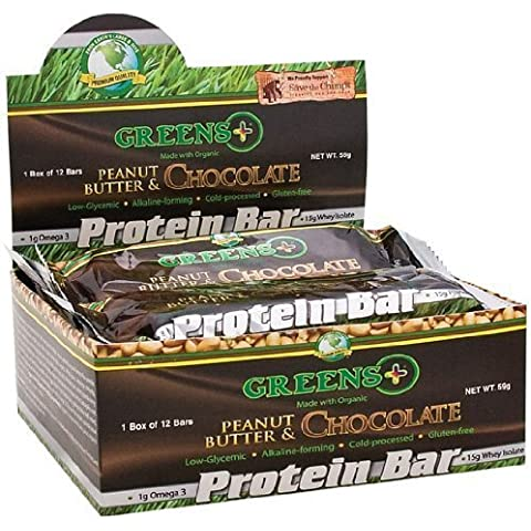 Peanut Butter and Chocolate, Protein Bars, 12 Bars (59 g Each) by Greens Plus