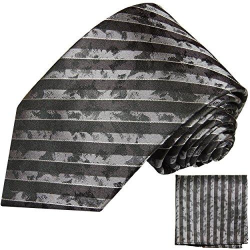 Brun rayé ensemble de cravate 2 Pièces ( 100% Soie Cravate + Mouchoir )