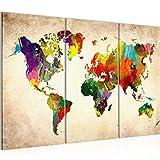 !!! SENSATIONSPREIS !!! Bilder 120 x 80 cm - Weltkarte Bild - Vlies Leinwand - Kunstdrucke – Wandbild - XXL Format – mehrere Farben und Größen im Shop - Fertig Aufgespannt !!! 100% MADE IN GERMANY !!! - Kontinent – Welt – Landkarte 105131a