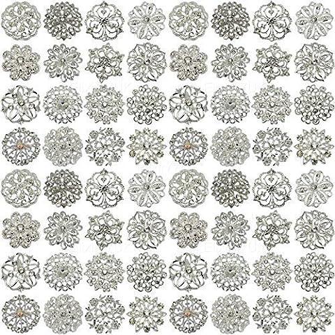 64pcs MIX SET SILVER FLOWER BROOCH RHINESTONE DIAMANTE CRYSTAL JOBLOT BRIDAL BOUQUET LOT DIY BROACH UK SELLER